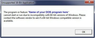 Dos 16bit unsupported on Windows 64bit