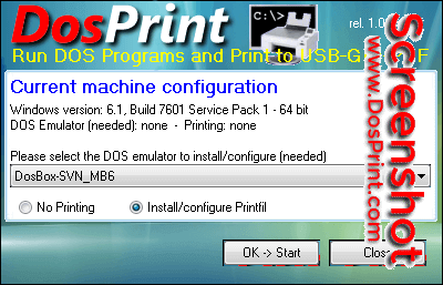 Run DOS programs on Windows 64-bit, print to USB / GDI / PDF printers